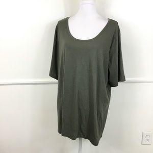 Lane Bryant Olive Green Short Sleeve Top 22/24